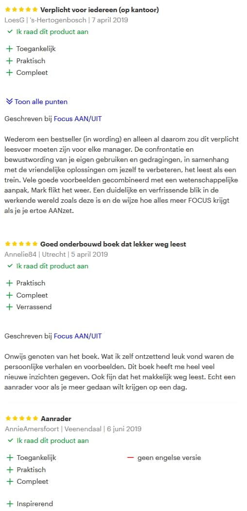 Focus AAN/UIT Reviews