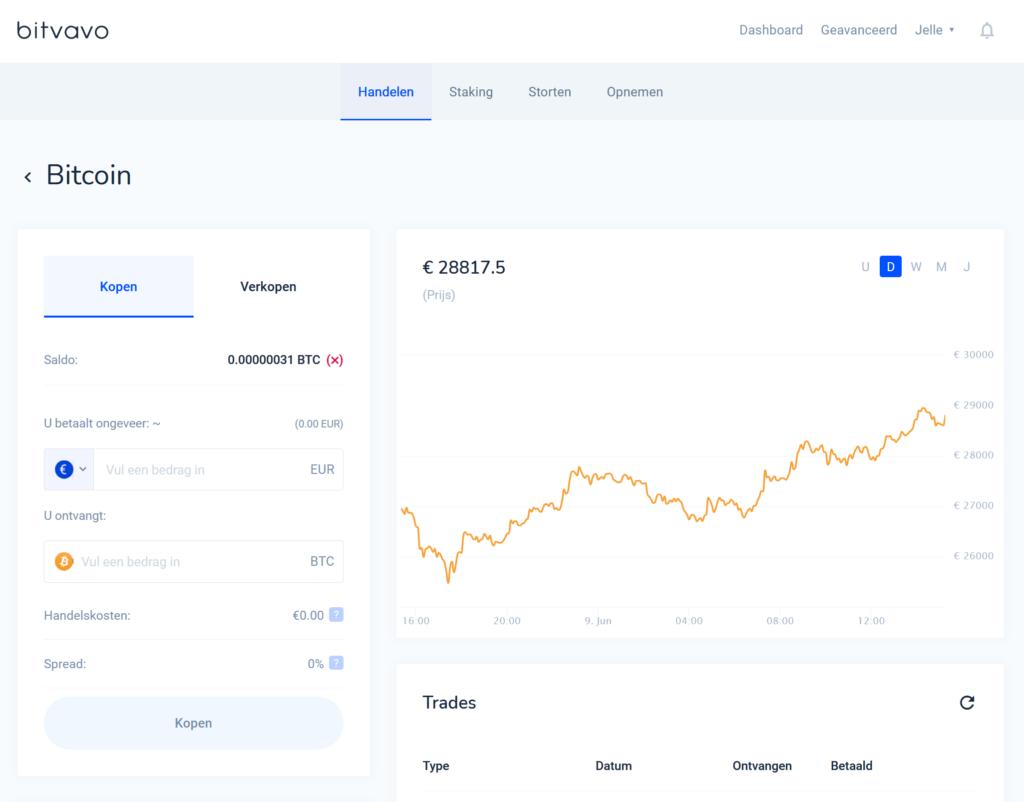 Bitvavo basis interface is vooral geschikt voor de beginnende crypto handelaren