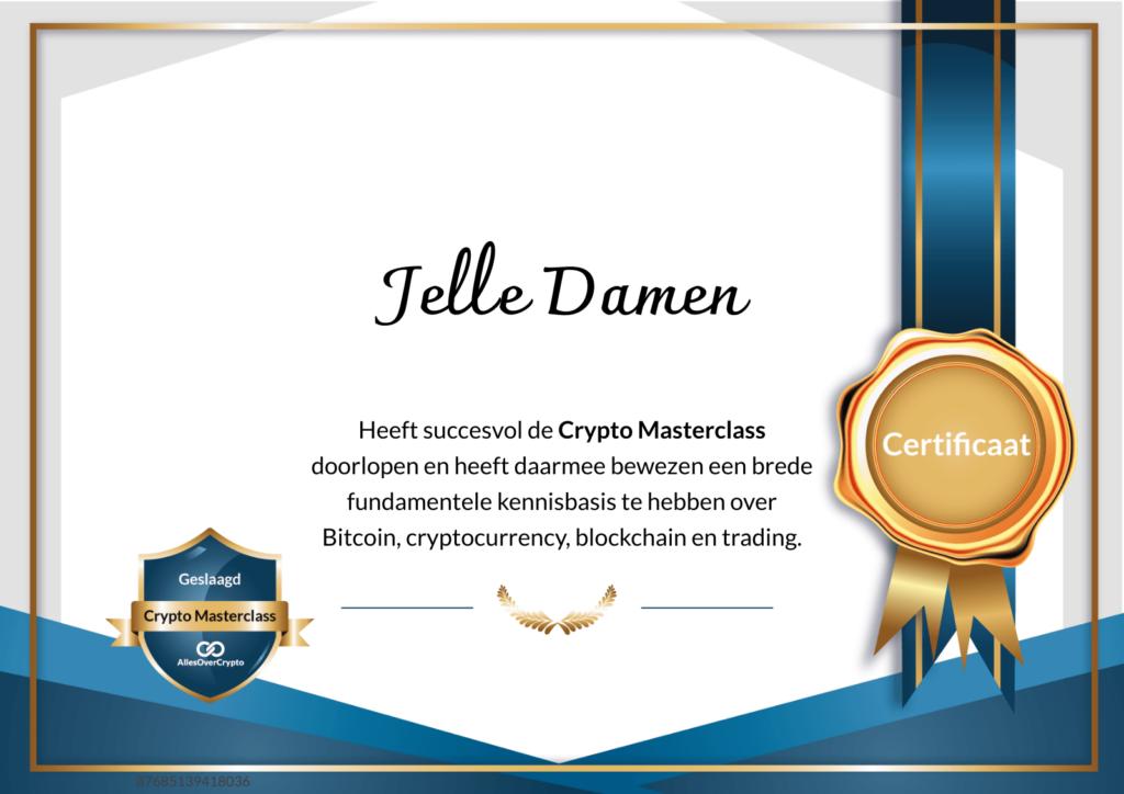 Crypto Masterclass Officiële certificaat